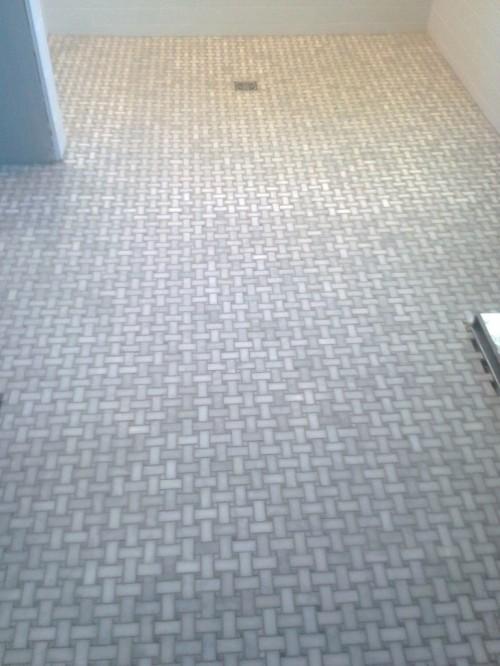 Charlie resealed the master bathroom marble tile.