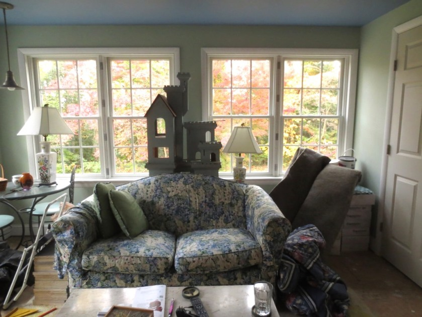 We had filled the only clear corner of the conservatory with boxes of tile and a room-sized rug pad. All but gone now.