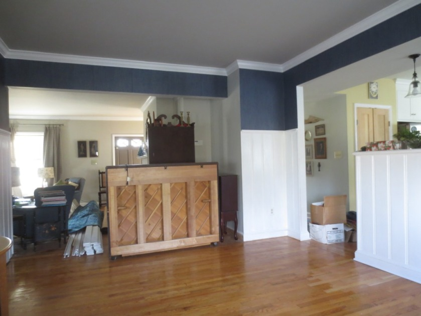 Transition between dining room and living room.