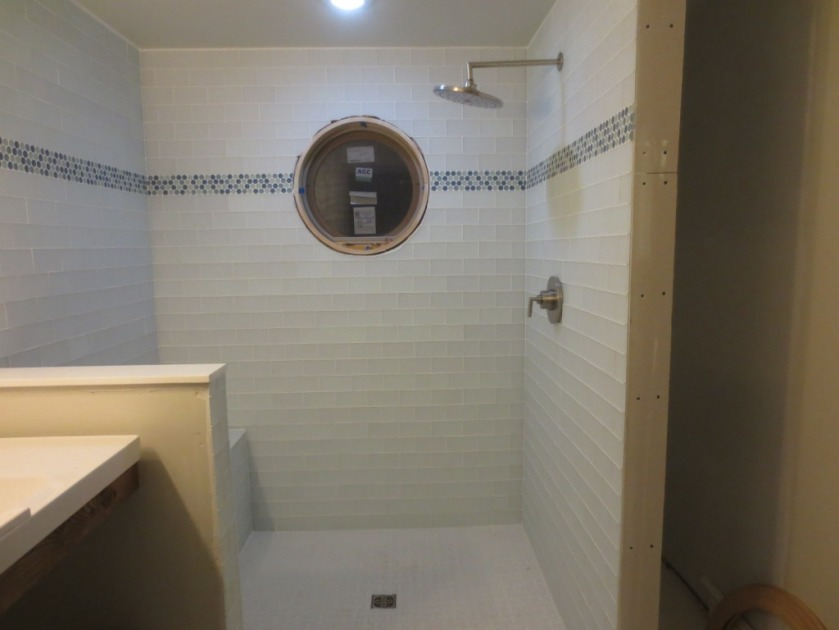 The shower is installed.