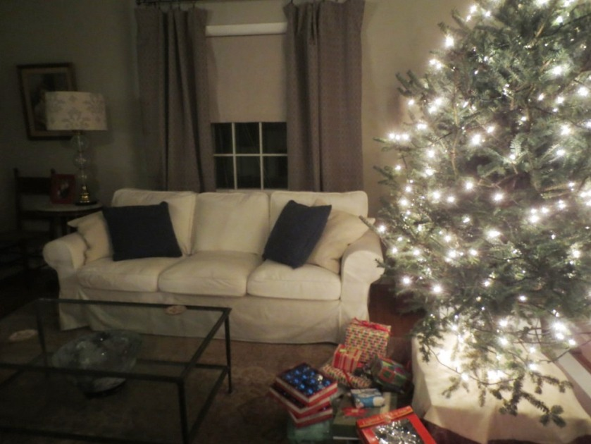 We had to offset the coffee table to accommodate the tree.