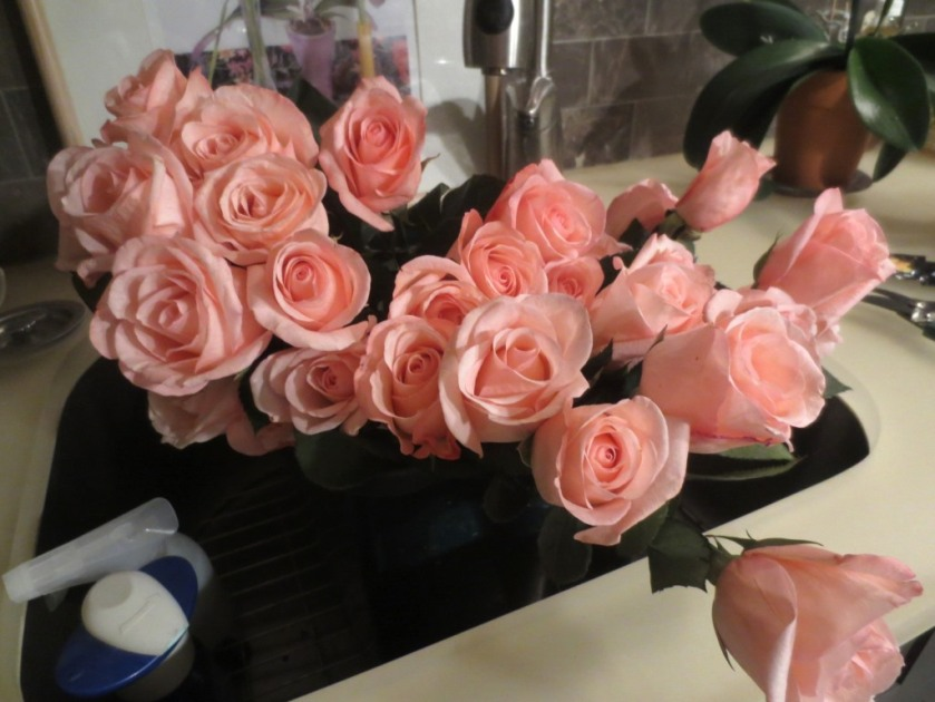 2-1/2 dozen supermarket roses for less than $25.