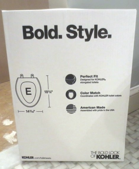 I found it hilarious that a plain white toilet seat has BOLD. STYLE. Really?