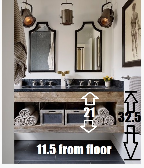 The inspiration vanity with measurements I would use in our bathroom.