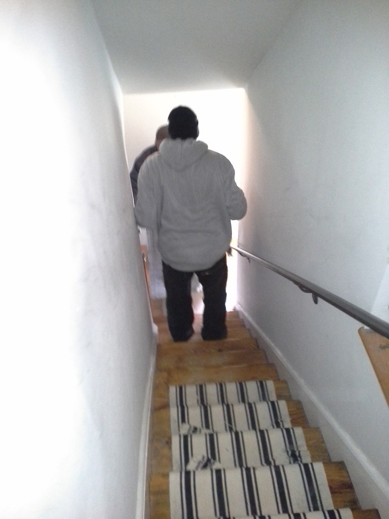 The stair runner to the second floor has never been finished.