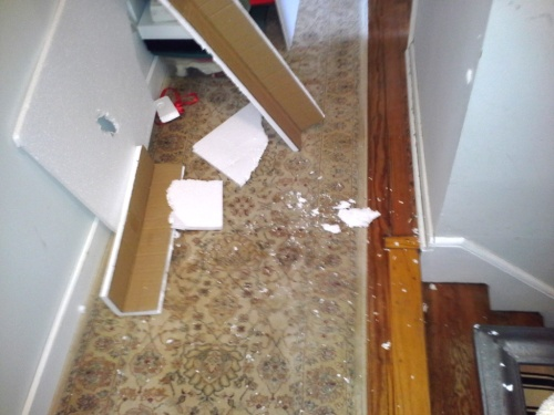Charlie took picture after picture of the Styrofoam trail left by the vanity.