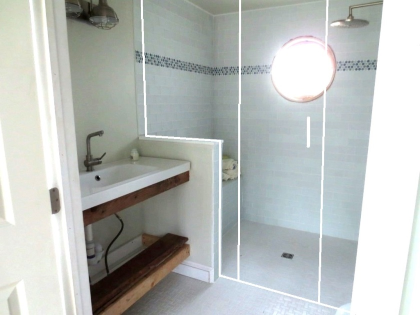 The shower will be enclosed something like this.