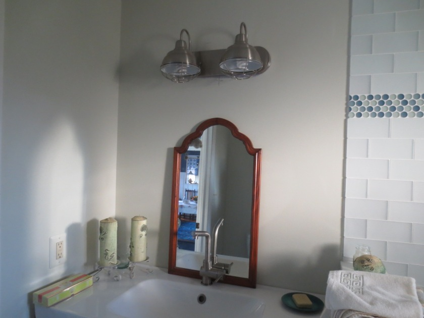 This mirror is a good size but I prefer to use it in the master bathroom.