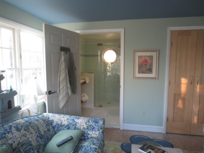 The conservatory bathroom is connected to the conservatory by a 36-inch door.