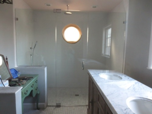 The master bath shower is finished except for the window trim. The vanity still needs to be put in place and plumbed.