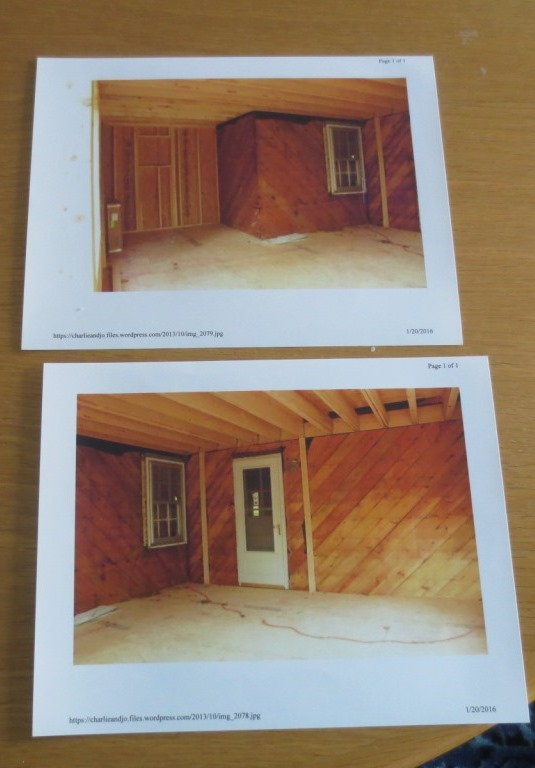 I printed two photos of the house after the outside walls were removed and the sheathing exposed.