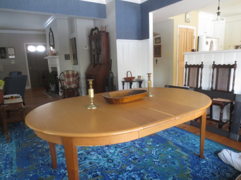 Usually the dining room table is 72 inches long.