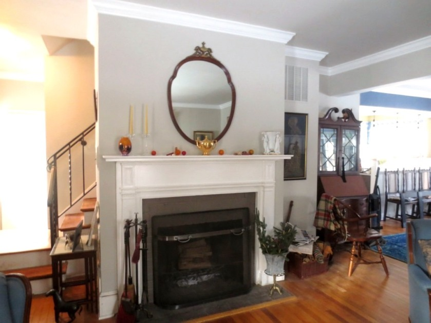 The mantel has details that require close-up scrutiny.