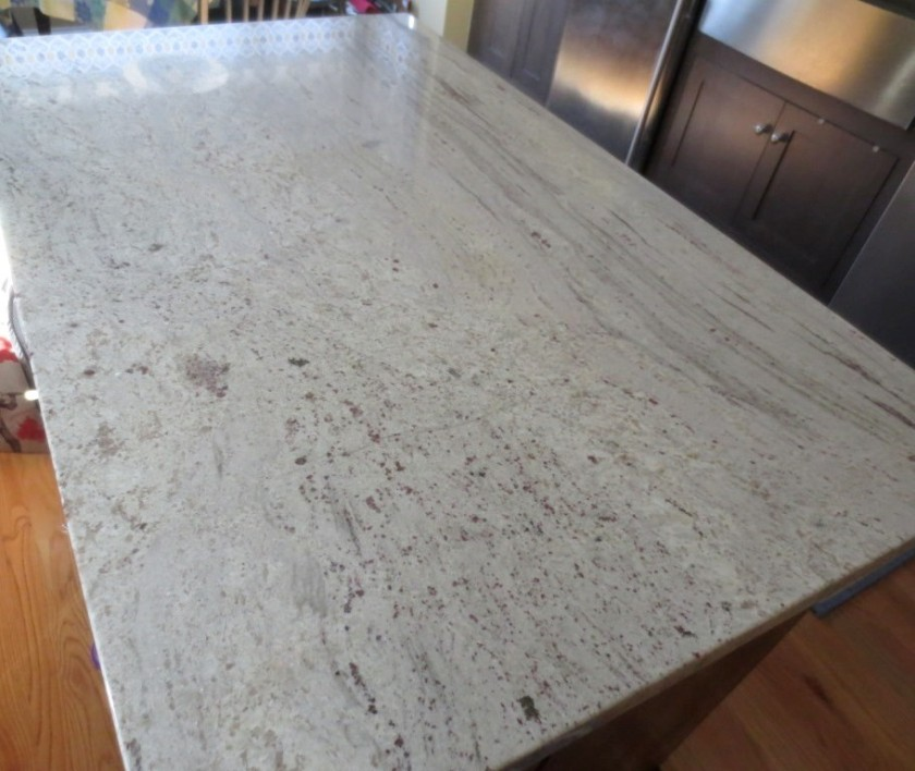 I cleaned the granite with soapy water and let it dry. Then I wiped on the sealer.