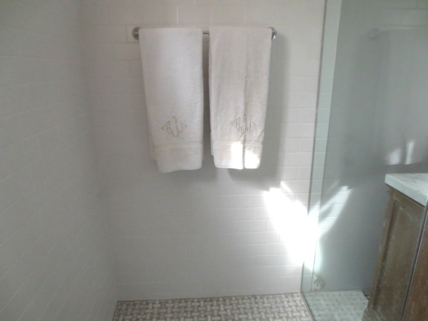In the ice white shower our white towels look discolored.