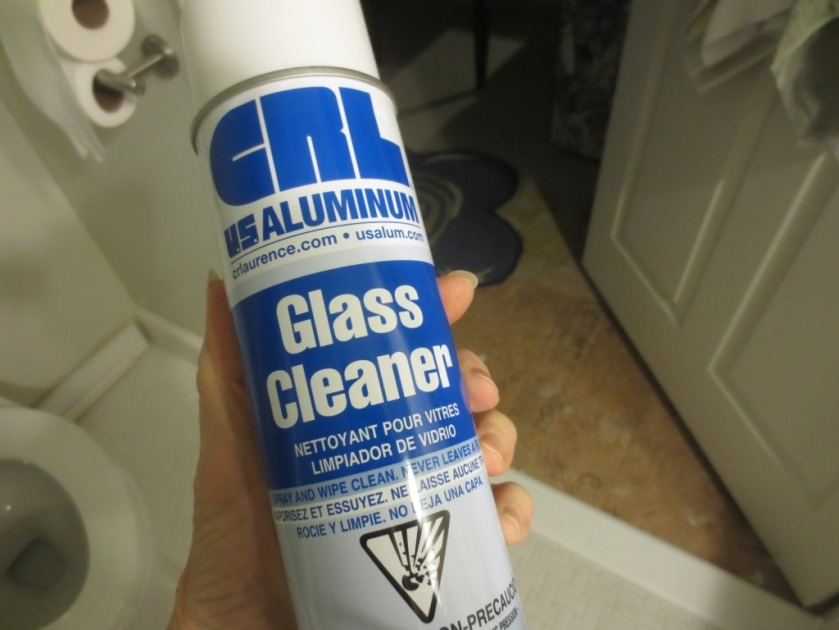 The glass cleaner sent by the shower door installer is white foam.