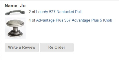 I bought 4 Advantage Plus 937 Advantage Plus 5 Knobs and 2 Lauréy 527 Nantucket Pulls from AGTStores.