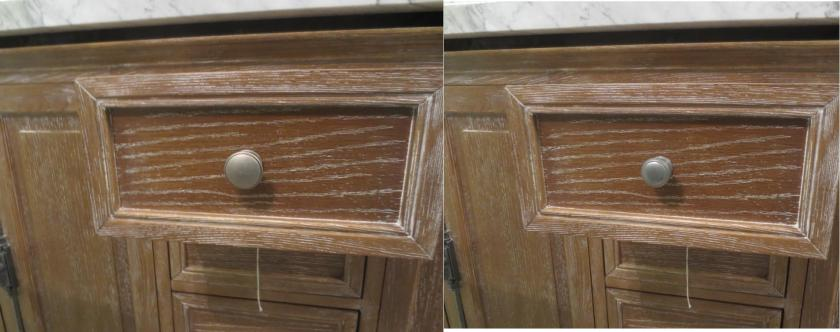 The smaller knob (on the right) that came with the vanity looked better than the larger knob.