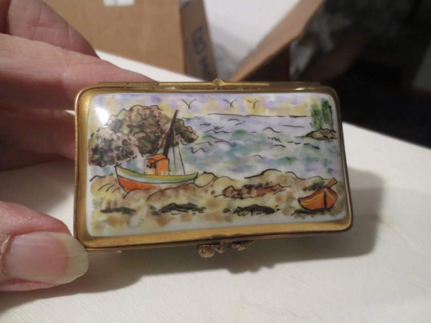 A tiny Limoges box which reminds me of the fishing boats by the Sea of Galilee.
