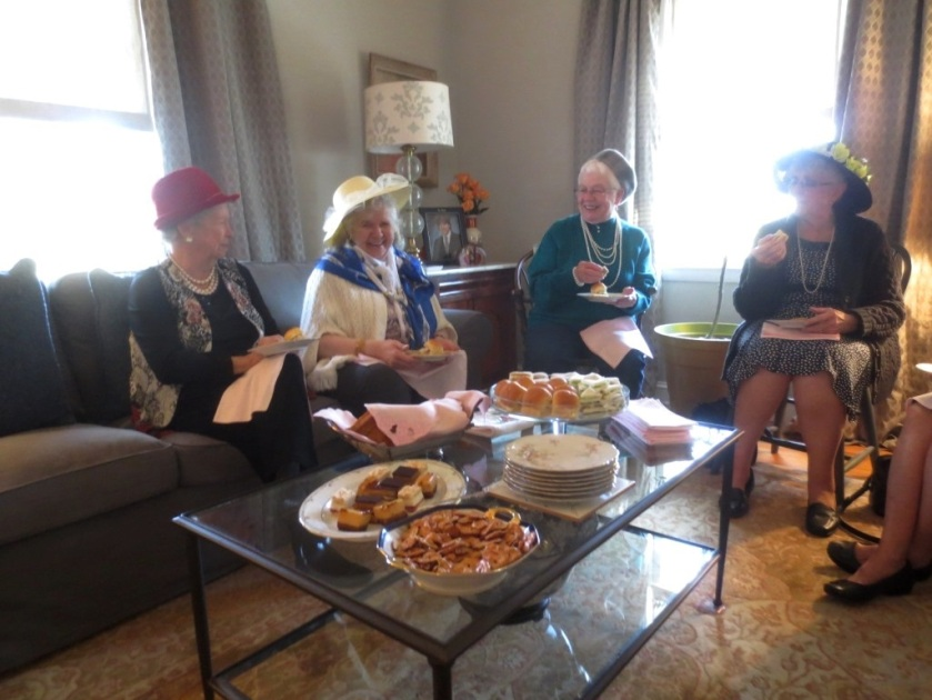Hats and pearls were de rigueur at our very proper tea party.