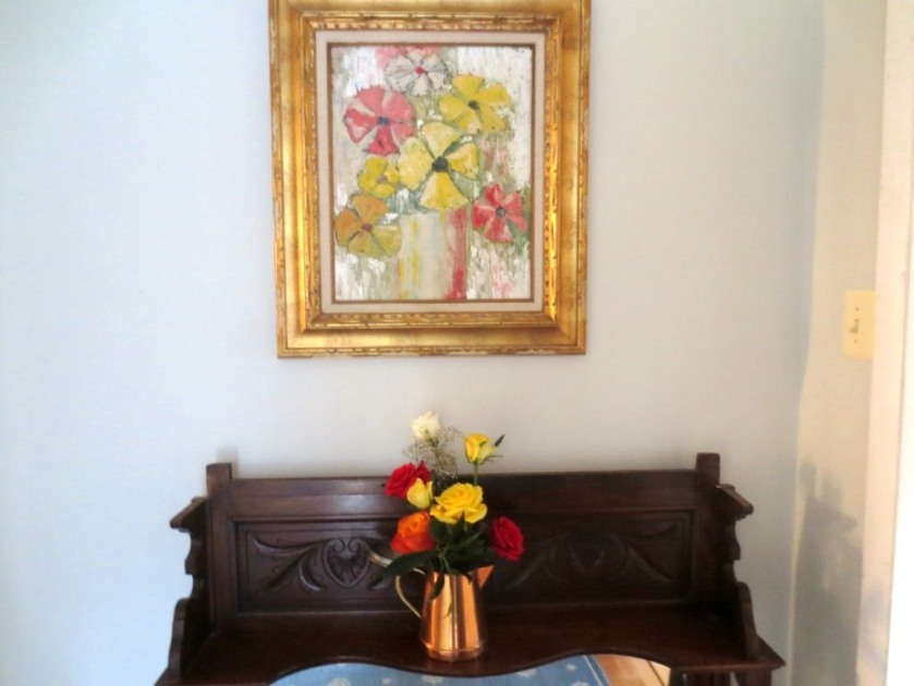 I used the painting in the mudroom as the model for the flower arrangement.