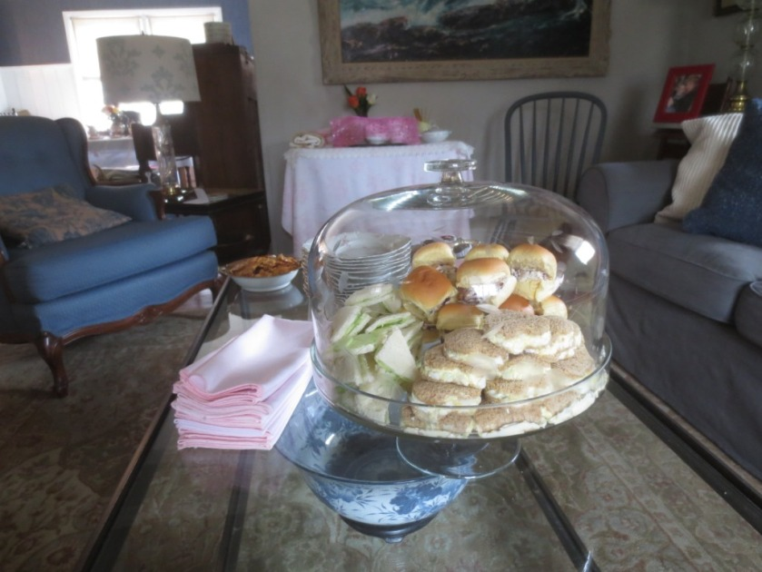 The sandwiches were made the day of the party and kept fresh in a domed cake plate.