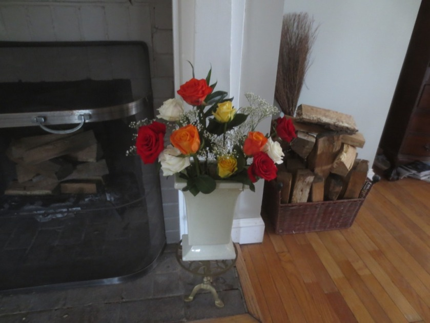 I used orange roses the 1st week and multi-colored bouquets the second week.