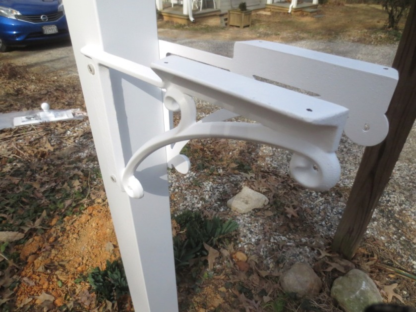 The brackets are the supports for the mailbox.