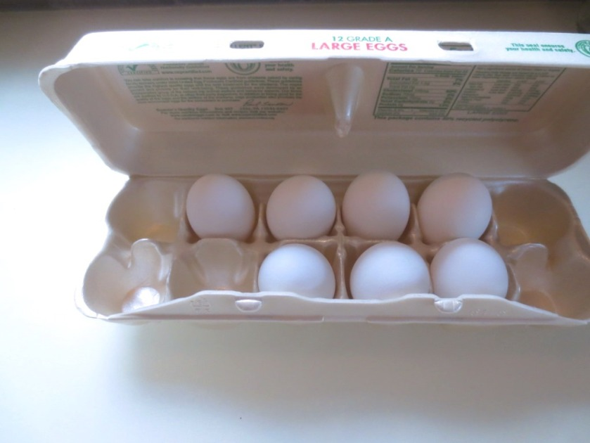 I started with 7 fresh eggs some of which I cracked trying to poke holes in the end.