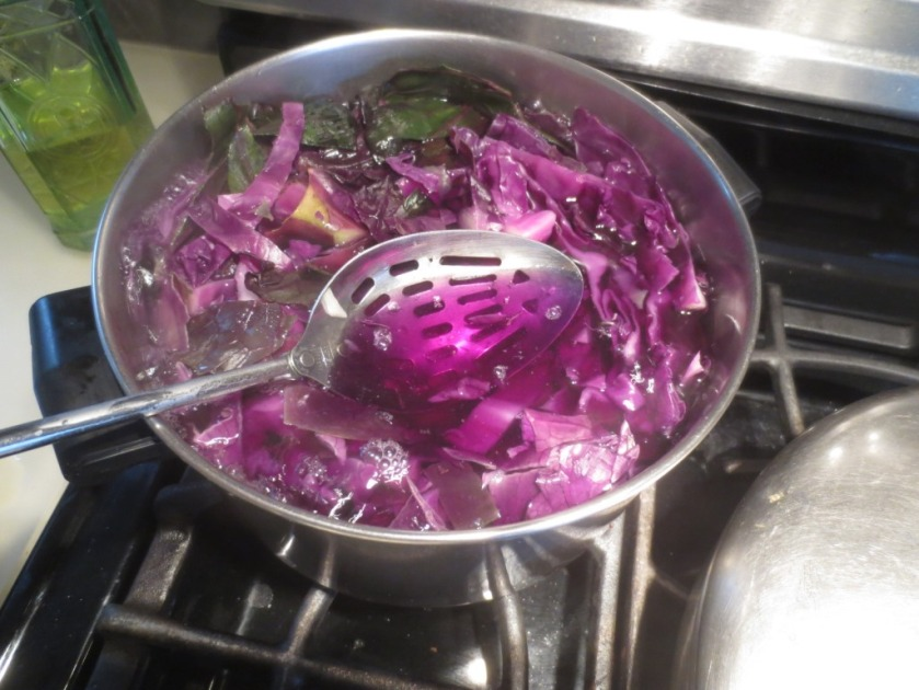 The cabbage water turns a brilliant magenta almost immediately.
