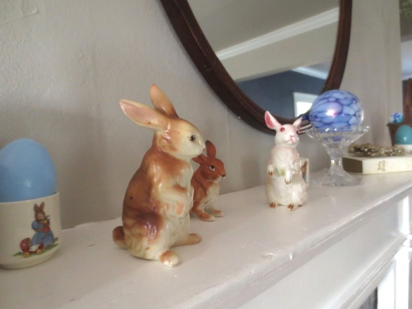 These bunnies hopped down from my bedroom to take their places on the living room mantel.