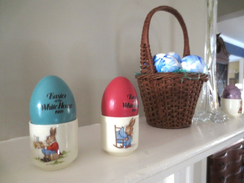 """The White House eggs are on display in Royal Doulton """"Bunnykins"""" egg cups."""