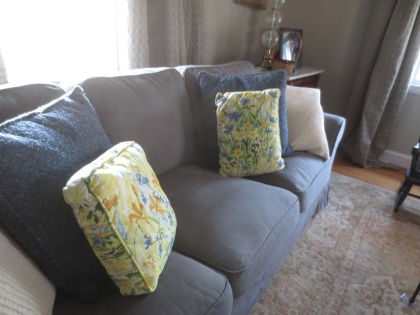 Mother made loads of pillows from scraps of fabric.