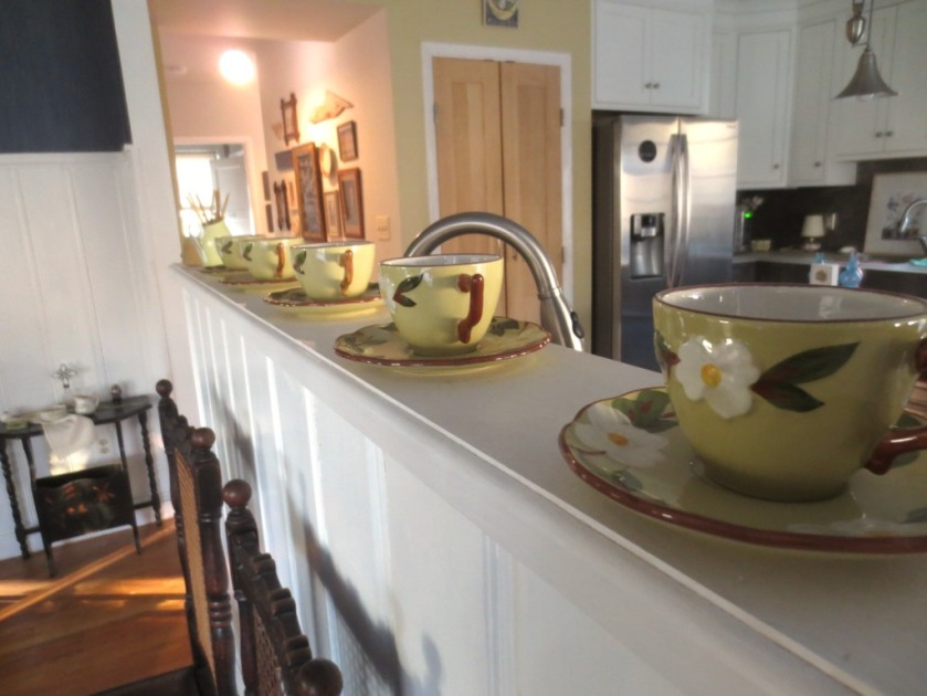 We're already anticipating the dogwood with cups and saucers in the dining room.