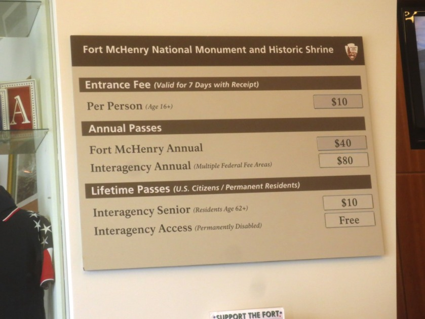 Price structure for Fort McHenry National Park.