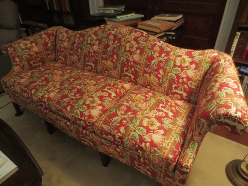 New upholstery on the library settee.