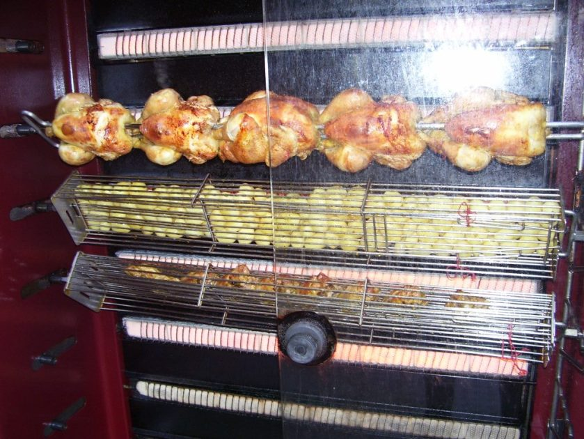 In Paris drippings from the rotisserie chickens flow onto roasting potatoes.