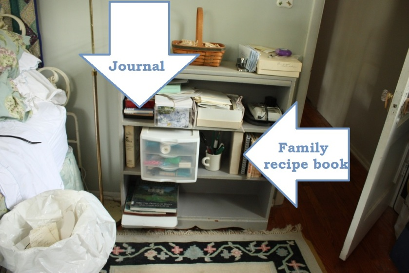 On the shelves in the Treetops Room I found a pretty blank journal and a family recipe book.