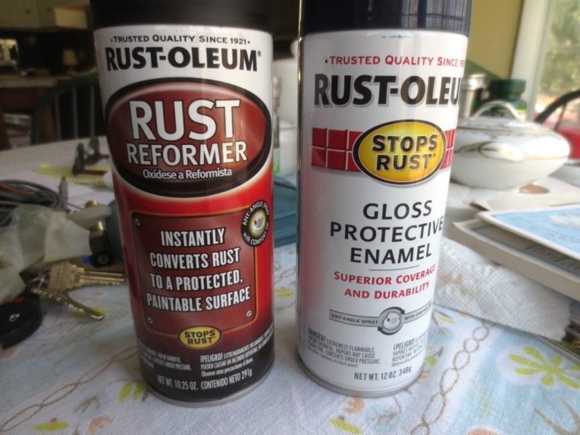 A good base coat of Rustoleum's Rust Inhibitor (matte black) covered with navy blue enamel.