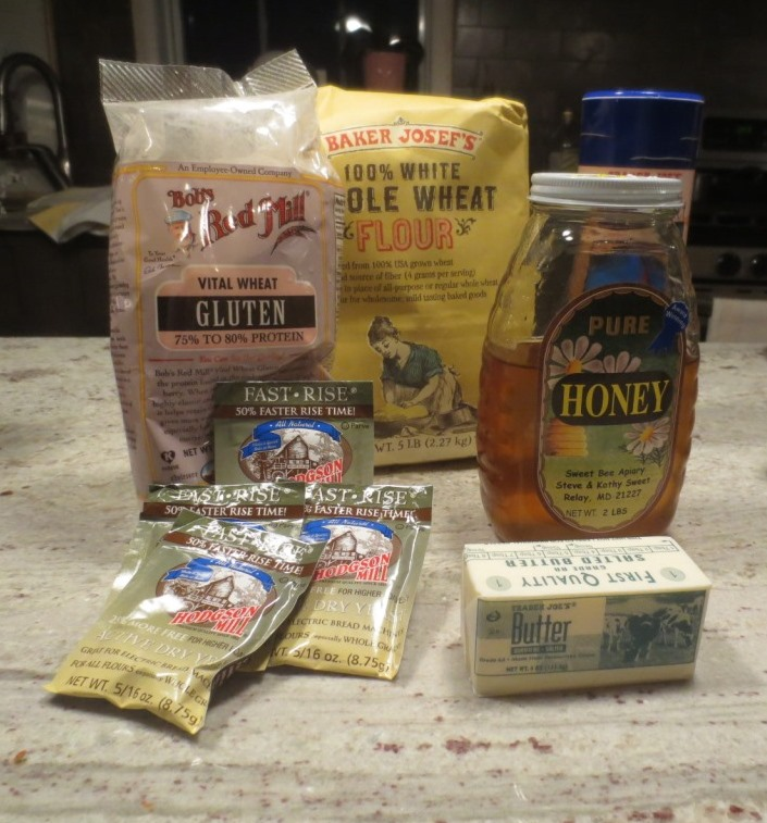 Ingredients for honey wheat bread.