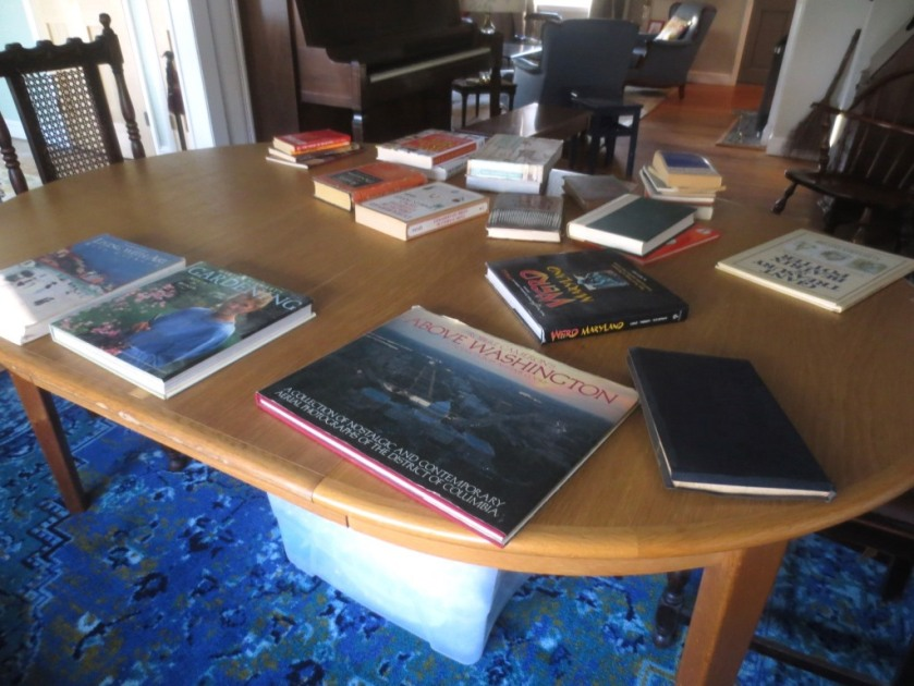 I've started piling my books on the dining room table. I'm not limited to 10 like everyone else.