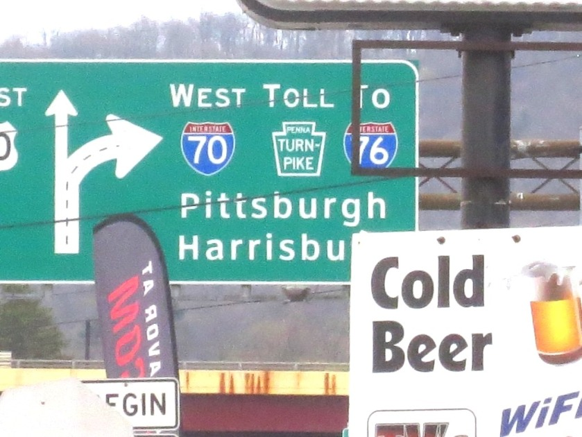 The signs at Breezewood.