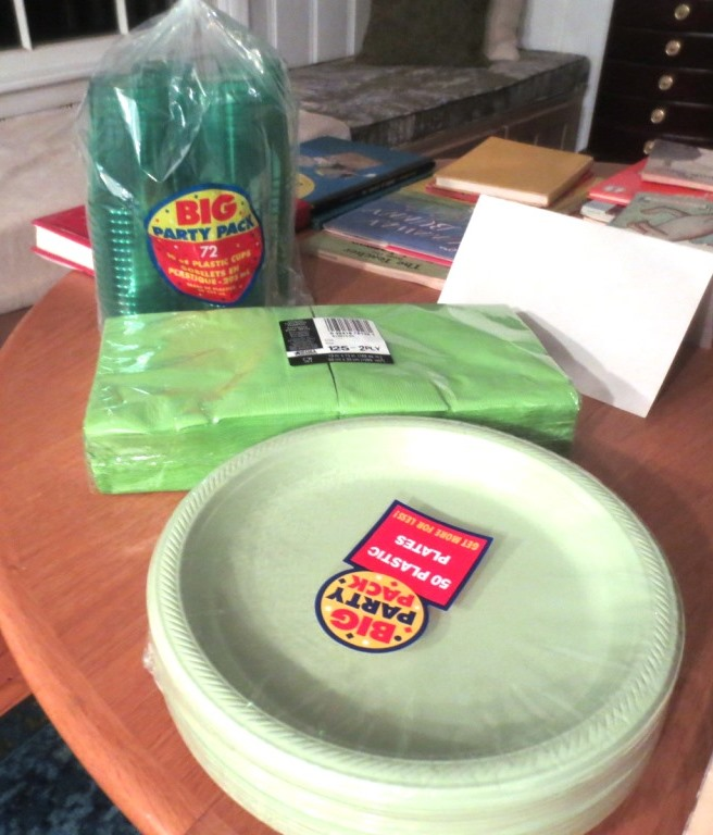Party supplies in 3 shades of green.