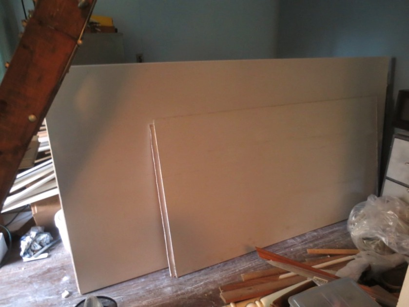 There are 3 full sheets and 2 half sheets of wallboard remaining from the house renovation. Use them or lose them!