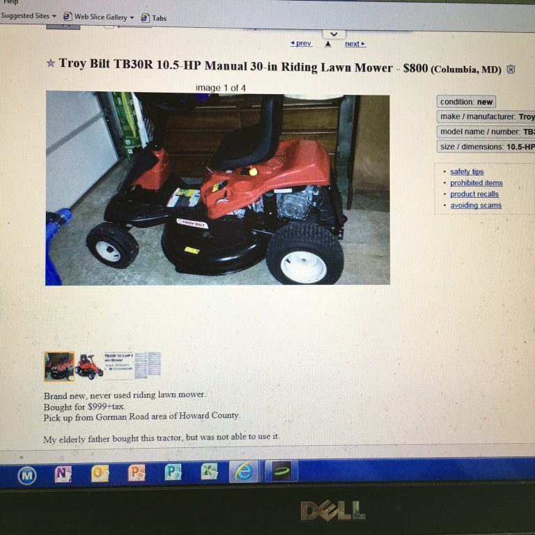 Similar, almost-new mowers were offered on Craigslist.