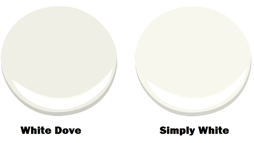 White Dove for the walls and Simply White for the ceiling and trim.