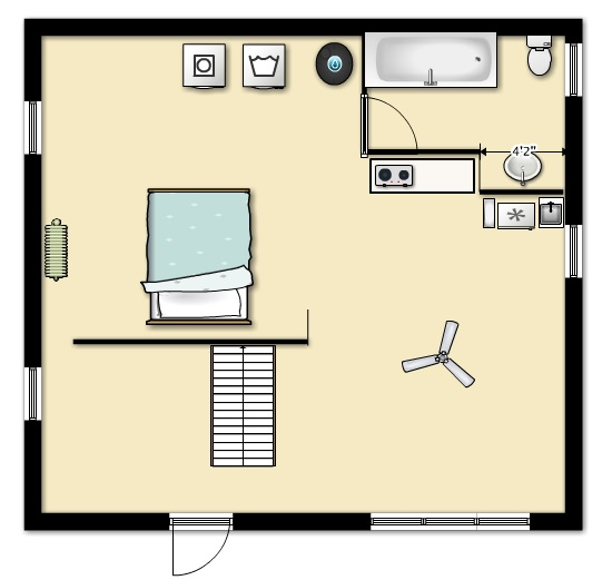 In the new floorplan the double bed will be behind the wall.