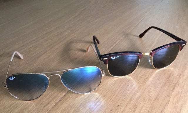 Gradient aviators and tortoise Clubmasters both by Ray-Ban.