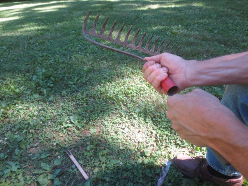 The garden rake broke apart.