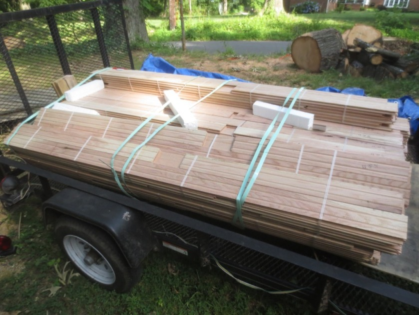 The trailer holds 400 square feet of oak flooring.